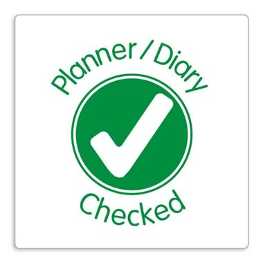 'Planner/Diary Checked' Stamper - Green Ink (25mm)