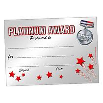 Platinum Award Certificates (20 Certificates - A5)