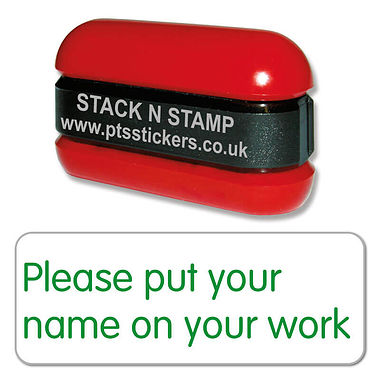Please Put Your Name on Your Work Stack & Stamp - Green (38mm x 15mm)