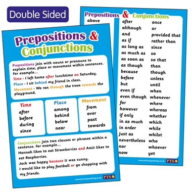 Prepositions & Conjunctives Double Sided Paper Poster (A2 - 620mm x 420mm)