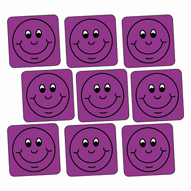 Purple Smiley Stickers - Square (140 Stickers - 16mm)