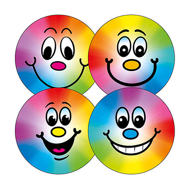Rainbow Smiley Stickers (20 Stickers - 32mm)