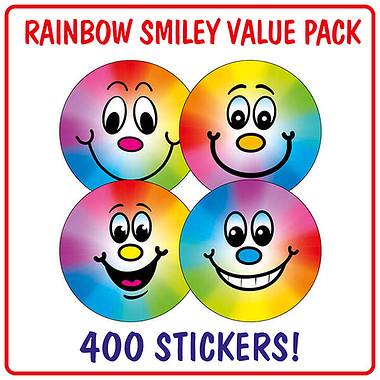 Rainbow Smiley Stickers (400 Stickers - 32mm) Brainwaves
