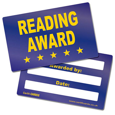 Reading Award CertifiCARDS (10 Cards - 86mm x 54mm)