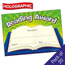 Reading Award Certificate - Holographic (20 Certificates - A5)
