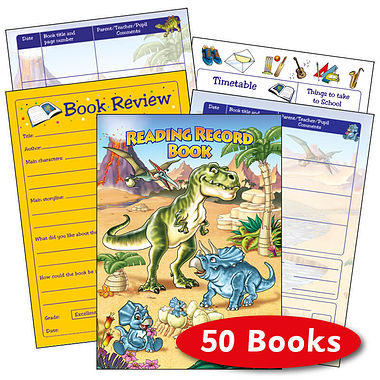 Reading Record Book - Dinosaurs (50 Books Included)