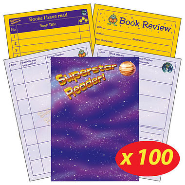 Reading Record Book - Superstar Reader (100 Books Included)