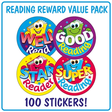 Reading Stickers (100 Stickers - 32mm) Brainwaves