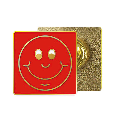 Red Smile Enamel Badge (20mm x 20mm)