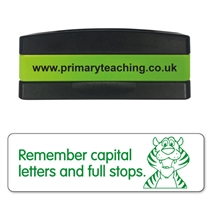 Remember Capital Letters and Full Stops Stakz Stamper - Green Ink (44mm x 13mm)