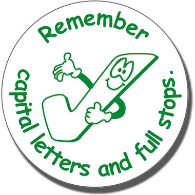 Remember Capital Letters and Full Stops Stamper (25mm)