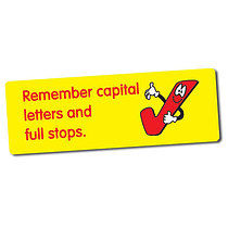 Remember Capital Letters and Full Stops Stickers (56 Stickers - 46x16mm)