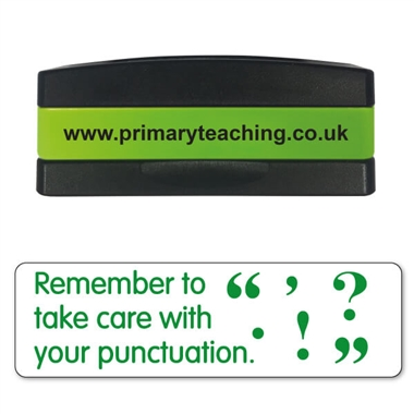 Remember to Take Care With Your Punctuation Stakz Stamper - Green Ink (44mm x 13mm)