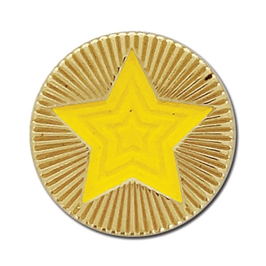 Round Star Enamel Badge - Yellow