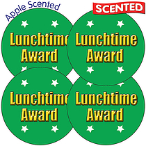 Scented Apple Stickers - Lunchtime Award (35 Stickers - 37mm)