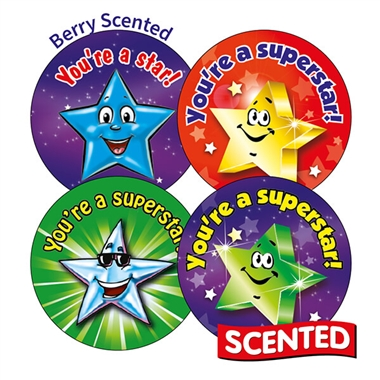 Scented Berry Stickers - Stars (45 Stickers - 32mm)