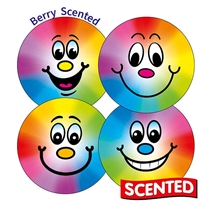 SCENTED BIG SMILEY Berry Stickers - Smile Faces (35 Stickers - 37mm)