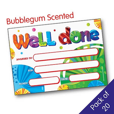 Scented Bubblegum Certificates - Well Done (20 Certificates - A5)