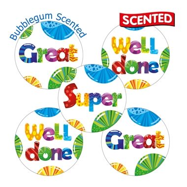 Scented Bubblegum Stickers (30 Stickers - 25mm)