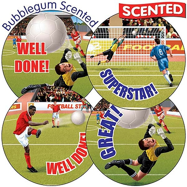 Scented Bubblegum Stickers - Football (35 Stickers - 37mm)