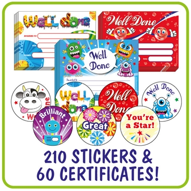 Scented Certificates and Stickers Value Pack (60 Certificates - 210 Stickers)