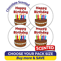 Scented Chocolate Happy Birthday Stickers  (32mm)