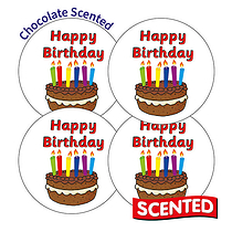 Scented Chocolate Stickers - Happy Birthday (20 Stickers - 32mm)