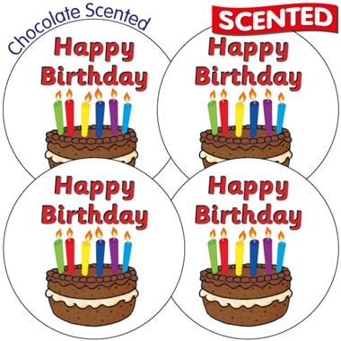 Scented Chocolate Stickers - Happy Birthday (35 Stickers - 37mm)