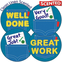 Scented Clean Linen Stickers - Denim (35 Stickers - 37mm)