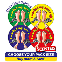 Scented Clean Linen Stickers - I Worked My Socks Off (32mm)