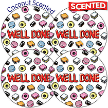 Scented Coconut Stickers - Well Done Sweets (35 Stickers - 37mm)