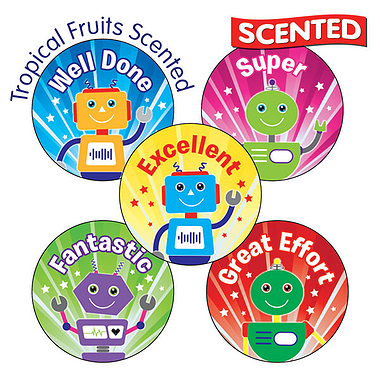 Scented Fruity Stickers - Robot (30 Stickers - 25mm)