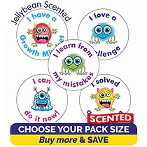 Scented Jellybean Stickers - Growth Mindset (25mm)