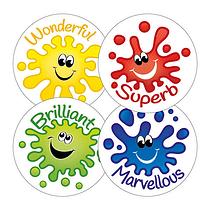 Scented Jellybean Stickers - Happy Splash (45 Stickers - 32mm)