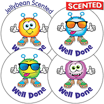 Scented Jellybean Stickers - Well Done Monster (35 per sheet - 37mm)