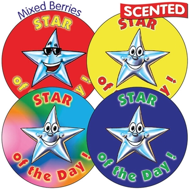 Scented Mixed Berry Stickers - Star of the Day (35 per sheet - 37mm)