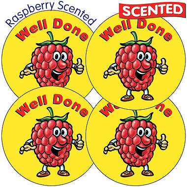 Scented Raspberry Stickers - Well Done (35 Stickers - 37mm)