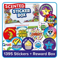 Scented Stickers Bumper Value Pack (1395 Stickers - 25mm & 32mm) WITH A STICKER STORAGE BOX