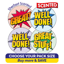Scented Stickers Comic Words - Sherbet (32mm) TEACHERS' FAVOURITE SCENT