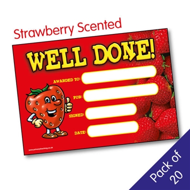 Scented Strawberry Certificates - Well Done (20 Certificates - A5)
