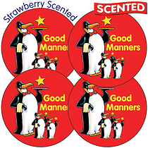 Scented Strawberry Stickers - Good Manners Penguins (35 Stickers - 37mm)
