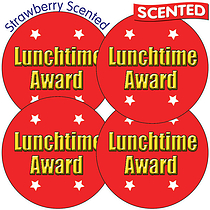 Scented Strawberry Stickers - Lunchtime Award (35 Stickers - 37mm)