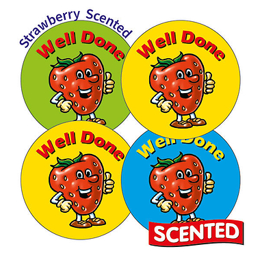 Scented Strawberry Stickers - Well Done (20 Stickers - 32mm)