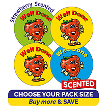 Scented Strawberry Stickers - Well Done (32mm)