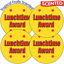 Scented Tropical Fruit Stickers - Lunchtime Award (35 Stickers - 37mm)