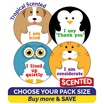 Scented Tropical Stickers - Manners (32mm)