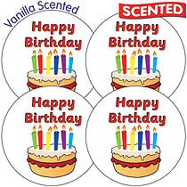 Scented Vanilla Stickers - Happy Birthday (35 Stickers - 37mm)