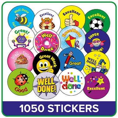 School Stickers Mixed - AMAZING VALUE Pack (1050 Stickers - 25mm)
