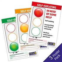 Self-Isolating Traffic Light Posters (Pack of 3 - A4)