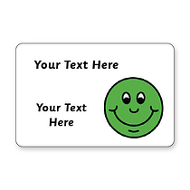 Sheet of 32 Personalised 46mm x 30mm Green Smile Stickers